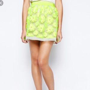 Karen Millen Bright Neon Sheer Embroidered Skirt